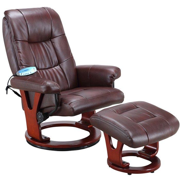 Brązowy Fotel Masujący Wypoczynkowy Biurowy Masaż Grzanie